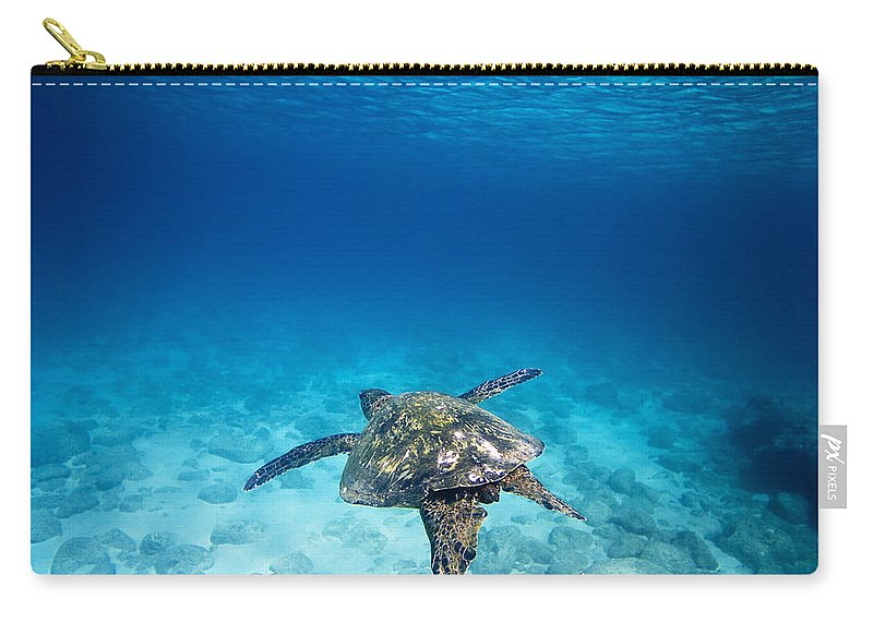 Ocean Under Water Carry-all Pouch featuring the photograph Turtle Soar by Sean Davey