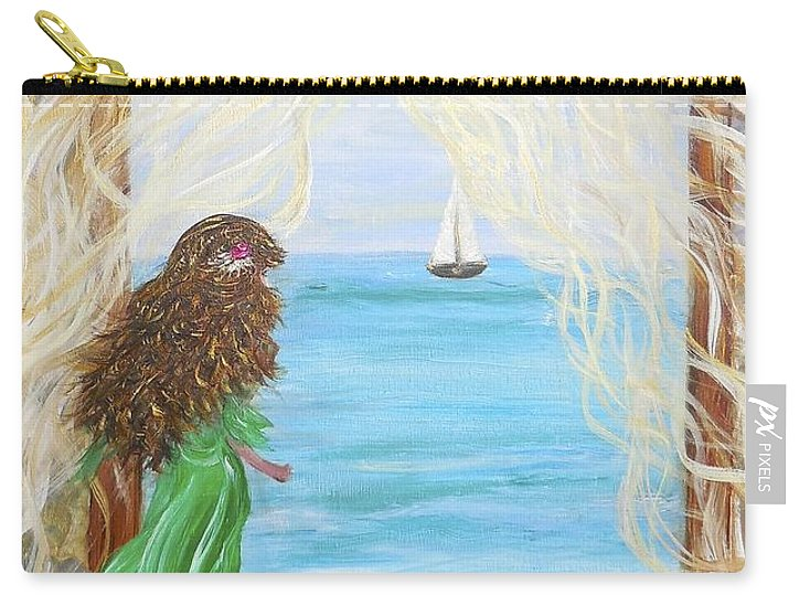 Whimsical Ocean Scene Carry-all Pouch featuring the painting Wait For Me by Sara Credito