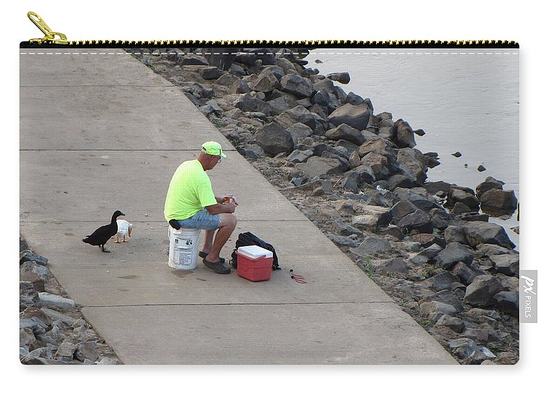 Duck Carry-all Pouch featuring the photograph Waiting For Crumbs by Karen Beasley