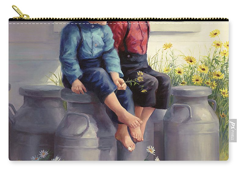 Amish Carry-all Pouch featuring the painting Waiting For Mama by Laurie Snow Hein