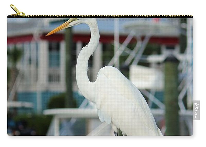 Egret Carry-all Pouch featuring the digital art Waiting For The Boat by Cynthia Guinn