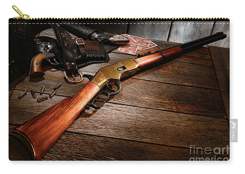 Western Carry-all Pouch featuring the photograph Waiting For The Gunfight by Olivier Le Queinec