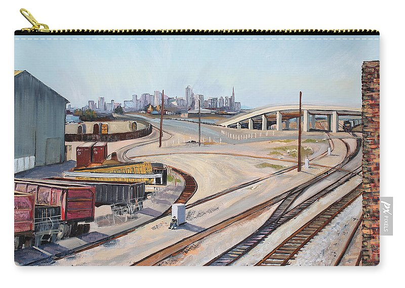 Urban Industrial Landscape Painting; Oil On Canvas Painting Carry-all Pouch featuring the painting Waiting For The Train by Asha Carolyn Young