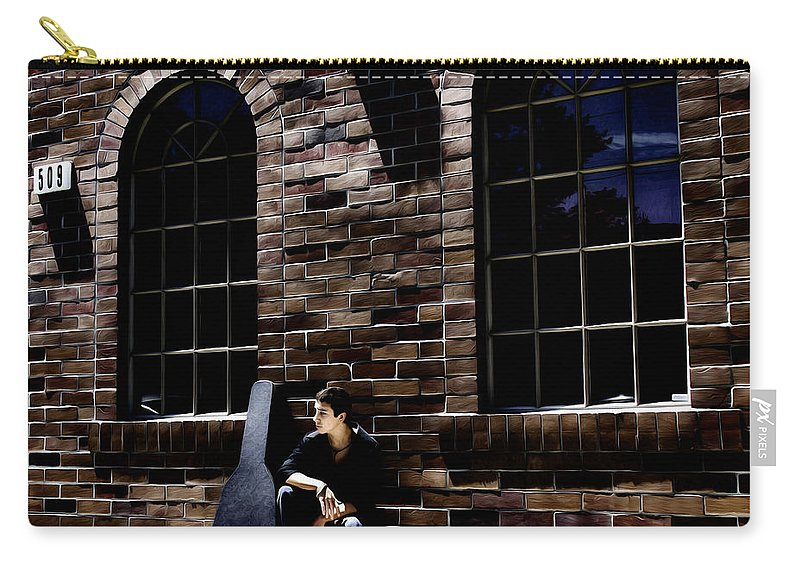 Boy Carry-all Pouch featuring the photograph Waiting On A Gig by Jacque The Muse Photography