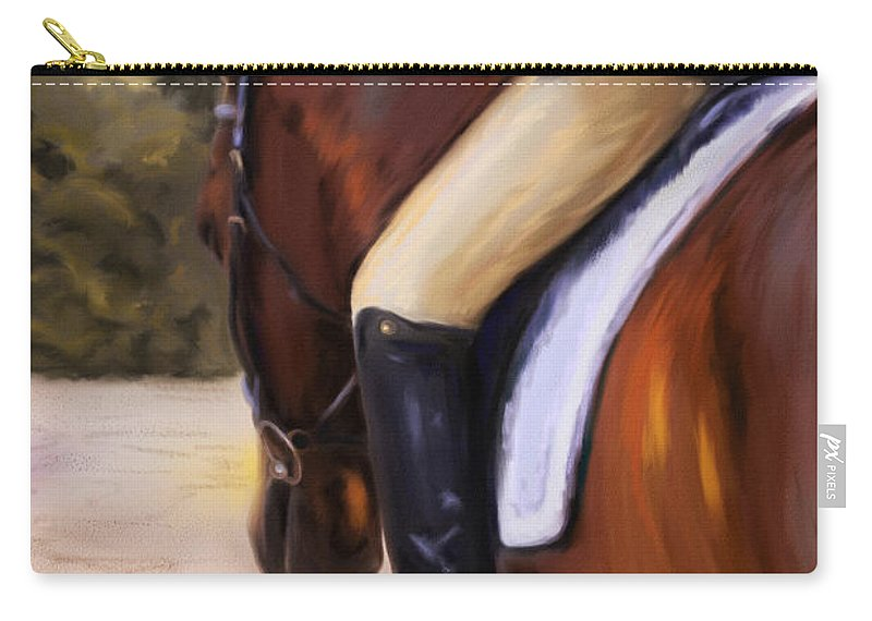 Dressage Carry-all Pouch featuring the painting Waiting Our Turn by Michelle Wrighton