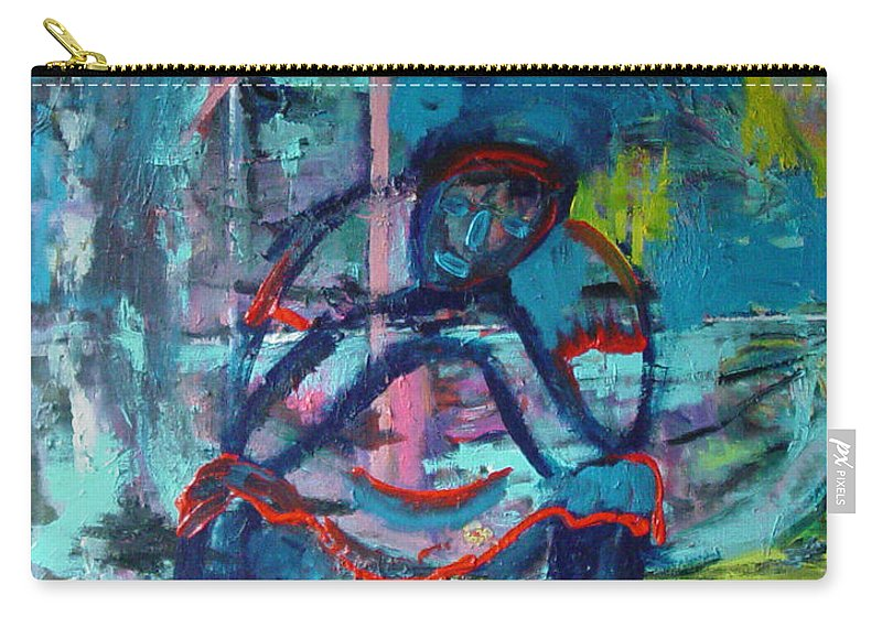 Woman On Bench Carry-all Pouch featuring the painting Waiting by Peggy Blood