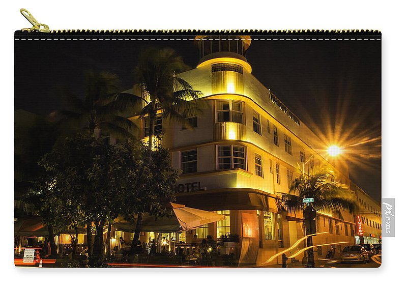 Florida Carry-all Pouch featuring the photograph Waldorf In Neon by Fran Gallogly