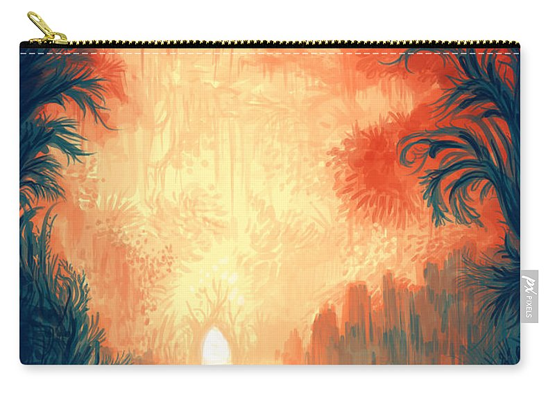 Outdoors Carry-all Pouch featuring the digital art Walk Away by Illustrations By Annemarie Rysz