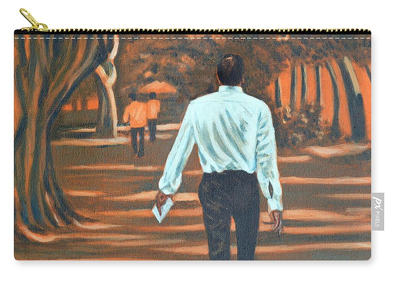 Usha Carry-all Pouch featuring the painting Walk In The Woods by Usha Shantharam