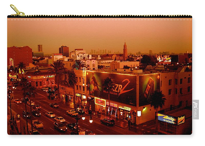 Hollywood Prints Carry-all Pouch featuring the photograph Walk Of Fame Hollywood In Orange by Monique's Fine Art