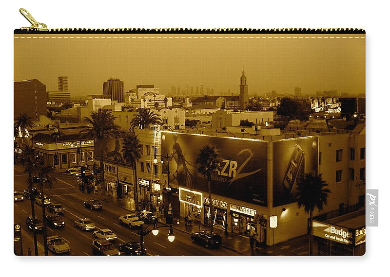 Hollywood Prints Carry-all Pouch featuring the photograph Walk Of Fame Hollywood In Sepia by Monique's Fine Art