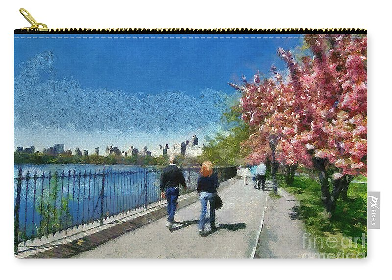 New York; Ny; N.y.; Nyc; Central Park; Manhattan; Usa; U.s.a.; North America; American; Park; Reservoir; People; Tourists; Adults; Lake; Pond; Water; Walk; Walking; Relax; Relaxing; Relaxation; City; Urban Landscape; Travel; Trees; Paint; Painting; Paintings Carry-all Pouch featuring the painting Walking Around Reservoir In Central Park by George Atsametakis