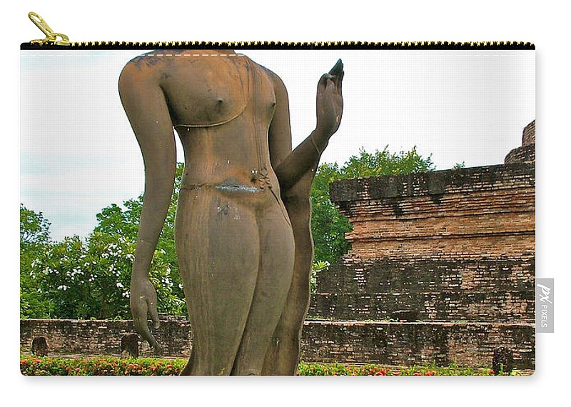 Walking Buddha Image At Wat Sa Si In 13th Century Sukhothai Historical Park Carry-all Pouch featuring the photograph Walking Buddha Image In Wat Sa Si In Sukhothai Historical Park-t by Ruth Hager