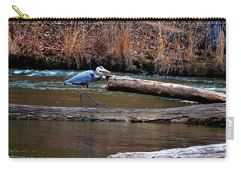 Heron Carry-all Pouch featuring the photograph Walking Heron by Tara Potts
