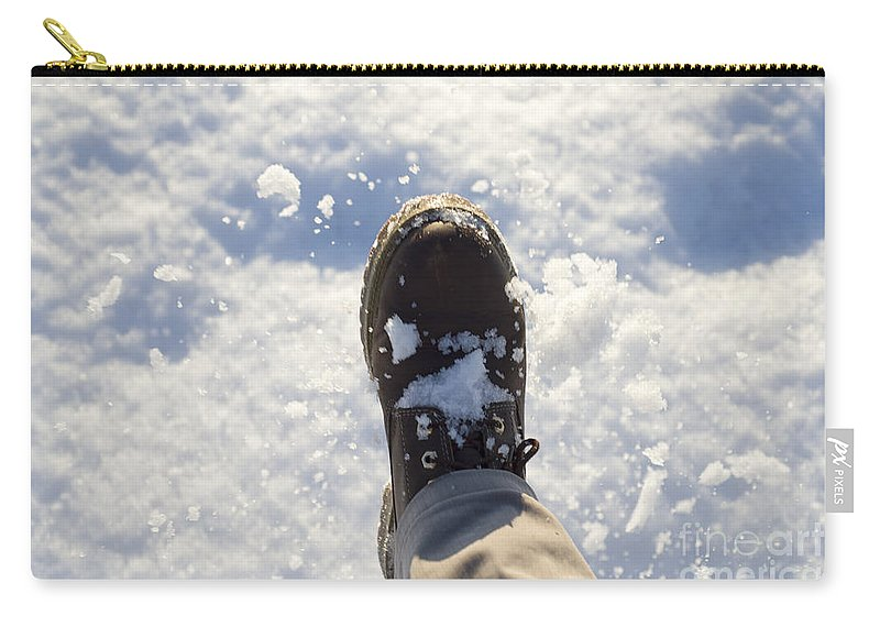Snow Carry-all Pouch featuring the photograph Walking In The Snow by Mats Silvan