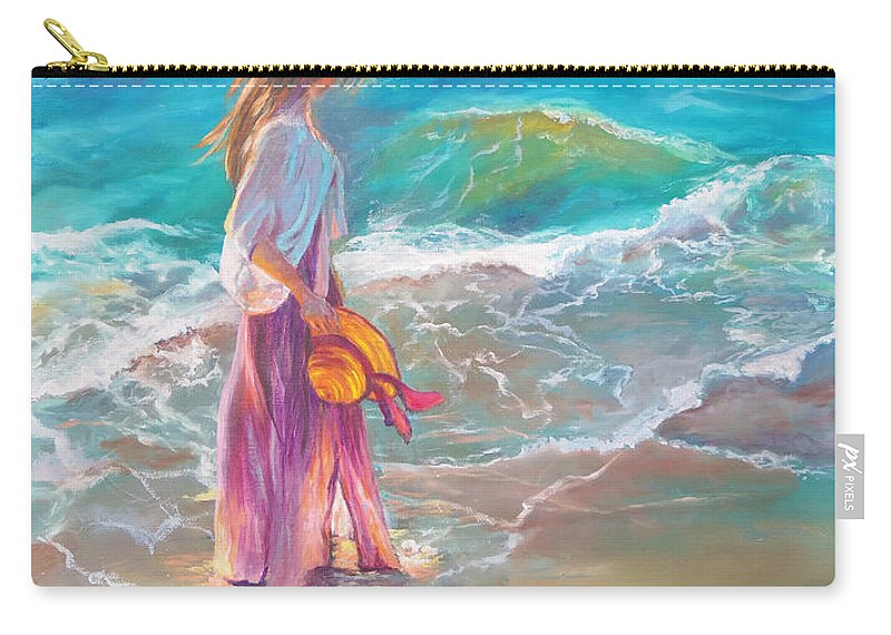 Walking In The Waves Painting Carry-all Pouch featuring the painting Walking In The Waves by Karen Kennedy Chatham