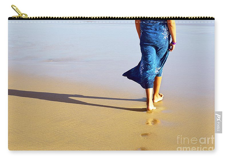 Activity Carry-all Pouch featuring the photograph Walking On The Beach by Carlos Caetano