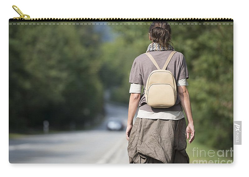 Woman Carry-all Pouch featuring the photograph Walking On The Road by Mats Silvan