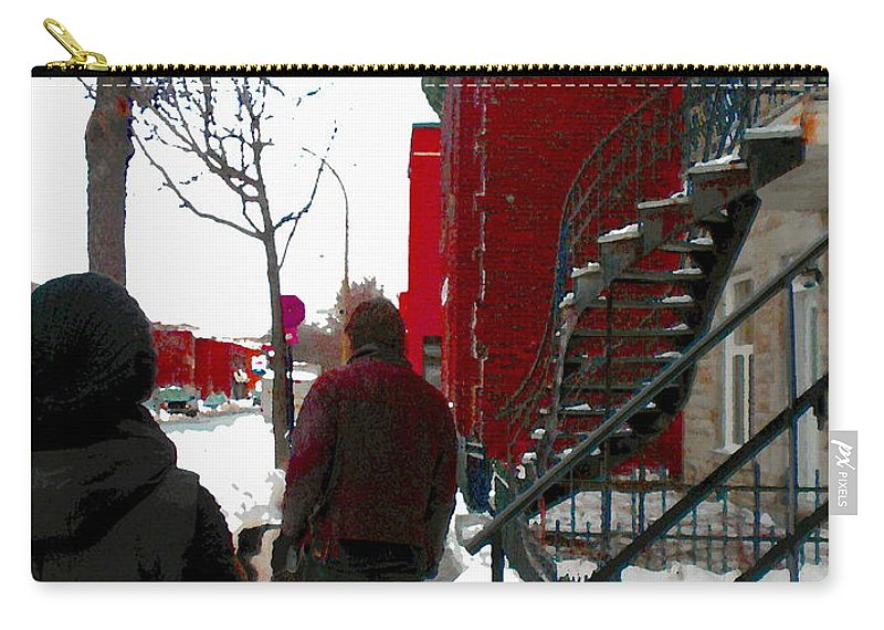 Montreal Carry-all Pouch featuring the painting Walking The Dog Through Snowy Streets Of Montreal Urban Winter City Scenes Carole Spandau by Carole Spandau