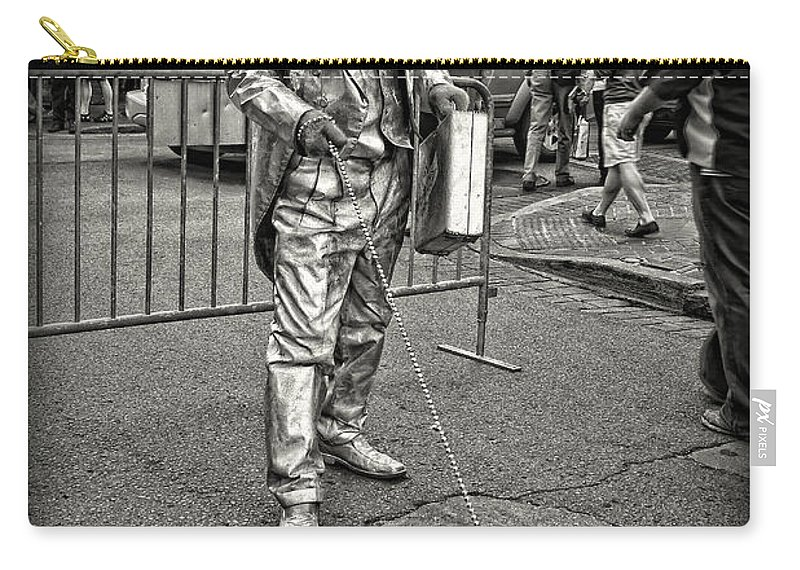 Black And White Photos Carry-all Pouch featuring the photograph Walking The Gator On Bourbon St. Nola Black And White by Kathleen K Parker