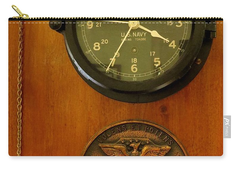 Antique Carry-all Pouch featuring the photograph Wall Clock And Plague by Zina Stromberg