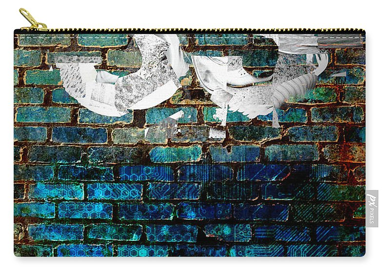 Digital-art Carry-all Pouch featuring the digital art Wall Of Knowlogy Abstract Art by Mary Clanahan