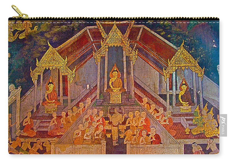 Wall Painting 3 In Wat Suthat In Bangkok Carry-all Pouch featuring the photograph Wall Painting 3 At Wat Suthat In Bangkok-thailand by Ruth Hager