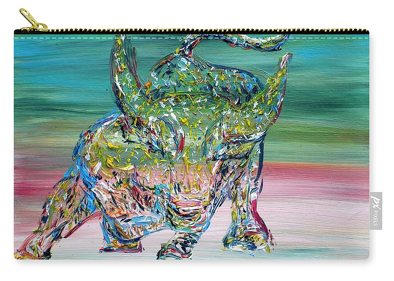 Wall Street Carry-all Pouch featuring the painting Wall Street Bull by Fabrizio Cassetta