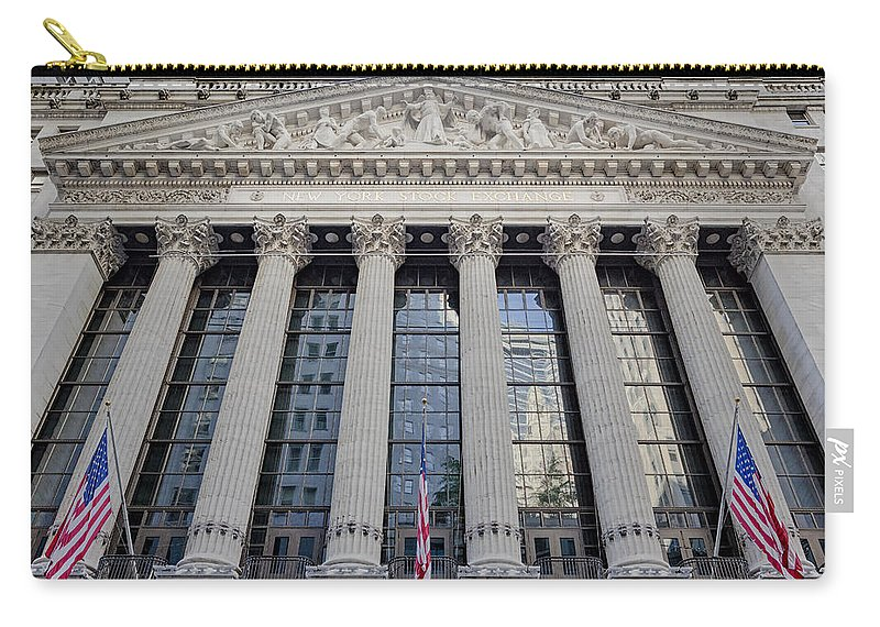 New York Stock Exchange Carry-all Pouch featuring the photograph Wall Street New York Stock Exchange Nyse by Susan Candelario