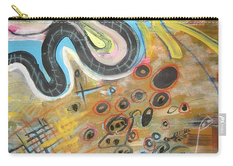 Abstract Carry-all Pouch featuring the painting Wandering In Thought2 Original Abstract Colorful Landscape Painting For Sale Yellow Blue Green by Seon-Jeong Kim