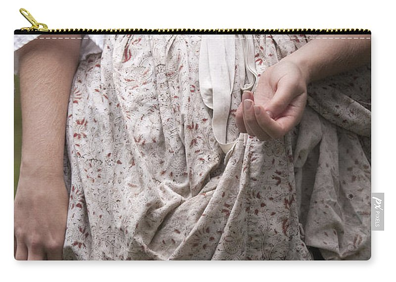 Person; Female; Woman; Lady; Apron; Dress; Caucasian; Hands; Blue; Floral Pattern; Revolutionary; Colonial; Standing; Torso; Arms; Vintage Carry-all Pouch featuring the photograph Want by Margie Hurwich