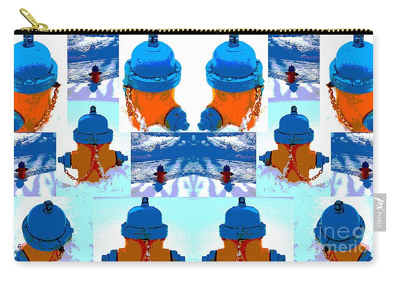 Warhol Carry-all Pouch featuring the photograph Warhol Firehydrants by Nina Silver
