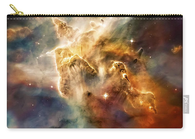 Universe Carry-all Pouch featuring the photograph Warm Carina Nebula Pillar 3 by Jennifer Rondinelli Reilly - Fine Art Photography