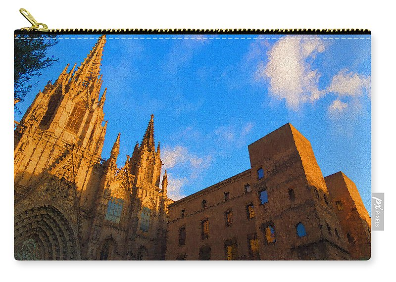 Georgia Mizuleva Carry-all Pouch featuring the digital art Warm Glow Cathedral - Impressions Of Barcelona by Georgia Mizuleva