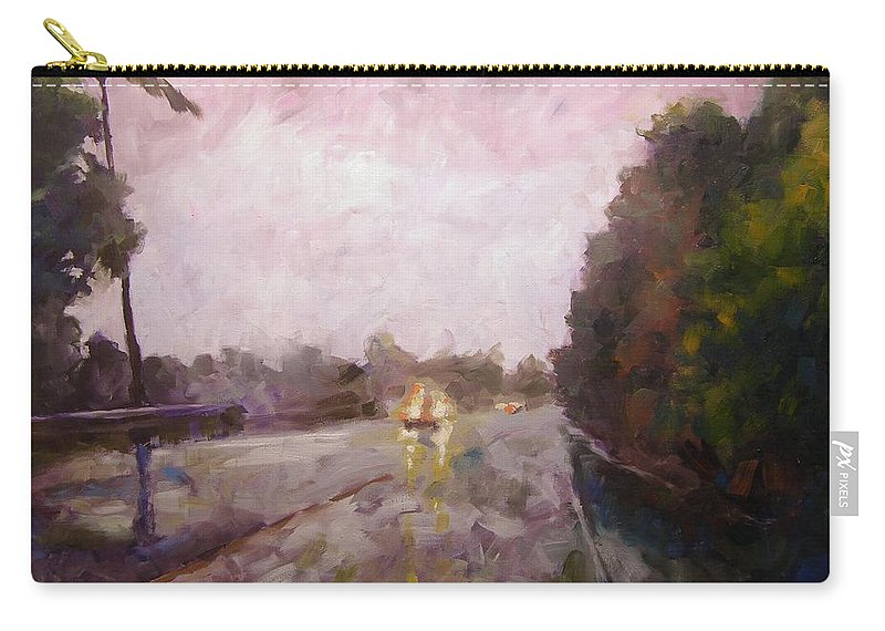 Oil Carry-all Pouch featuring the painting Warm Rain by Mary McInnis
