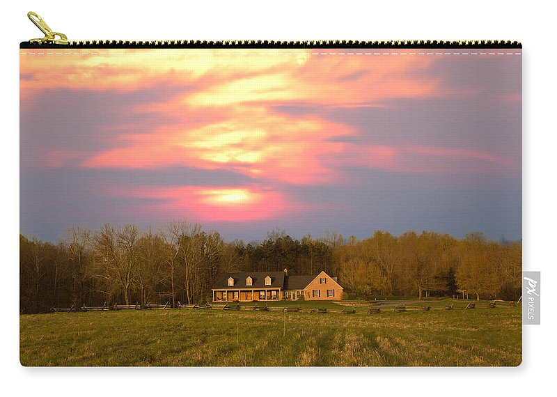 Sunset And Spring Carry-all Pouch featuring the photograph Warm Spring Sunset by Randall Branham