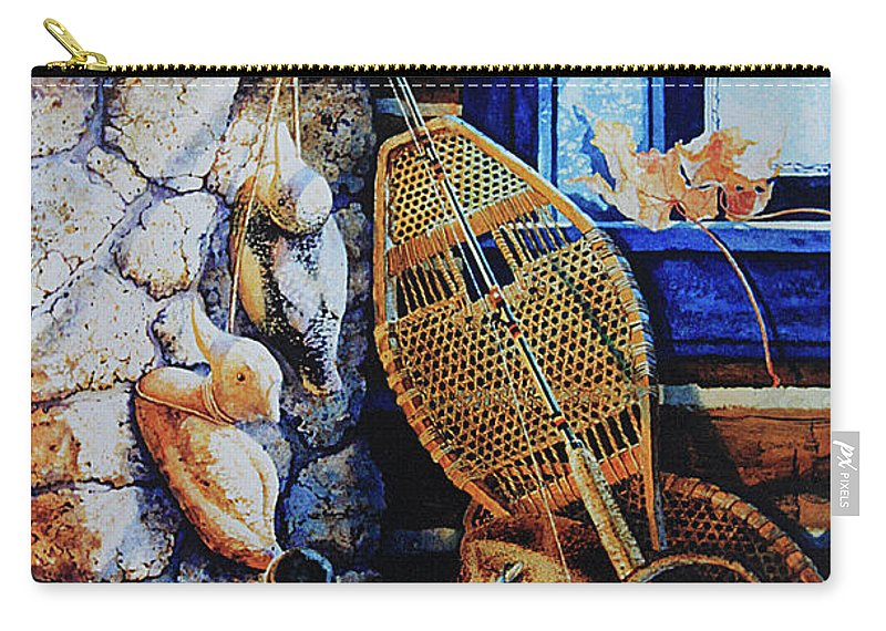 Masculine Still Life Paintings Carry-all Pouch featuring the painting Warm Winter Wishes by Hanne Lore Koehler