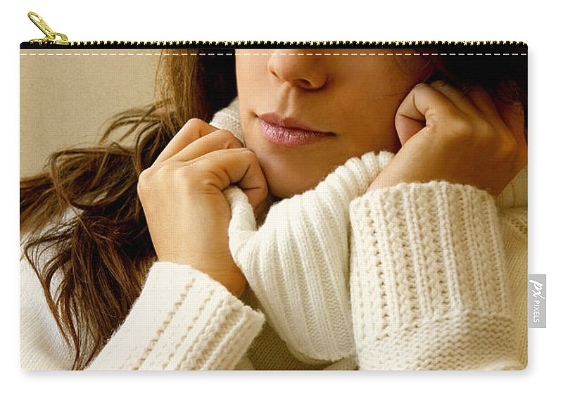 Woman; Lady; Female; Caucasian; Casual; Comfort; Comfortable; Lazy; Sweater; Warm; Warmth; Jeans; Sitting; Lounge; Lounging; Living Room; Indoors; Inside; Brunette; Alone; In Thought; Long Hair; Turtleneck Carry-all Pouch featuring the photograph Warmth by Margie Hurwich