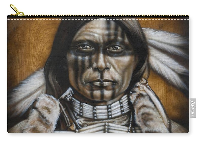 Native American Carry-all Pouch featuring the painting Warpaint by Timothy Scoggins