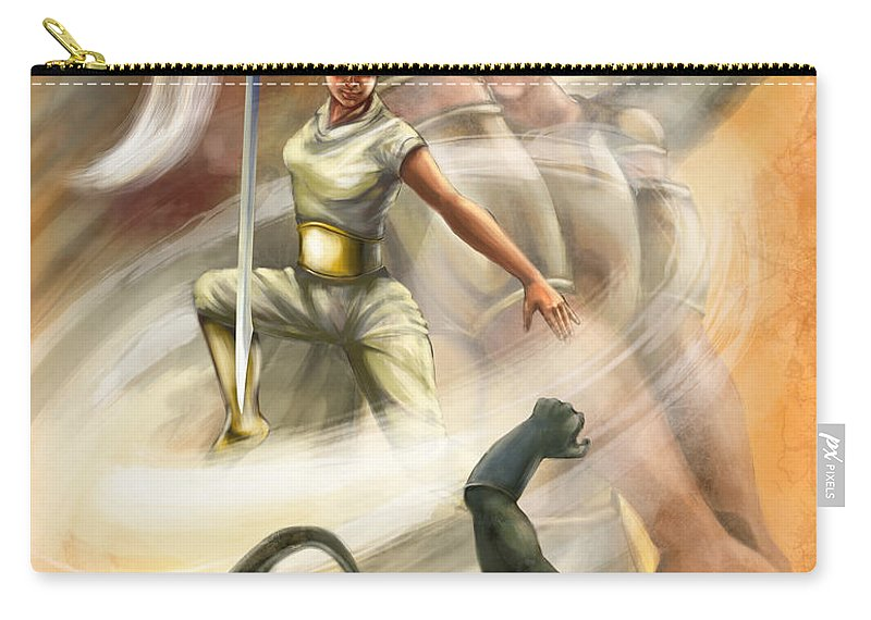 Christian Painting Carry-all Pouch featuring the digital art Warrior by Tamer and Cindy Elsharouni
