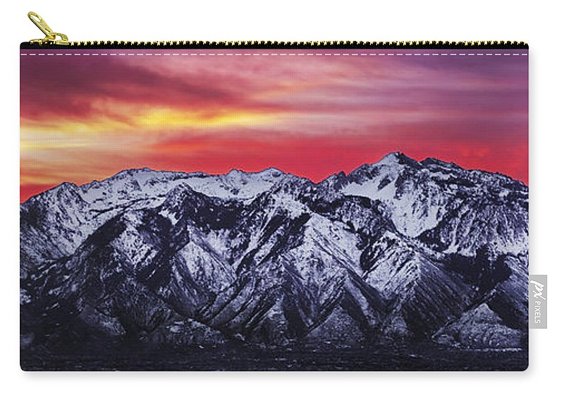 Sky Carry-all Pouch featuring the photograph Wasatch Sunrise 3x1 by Chad Dutson