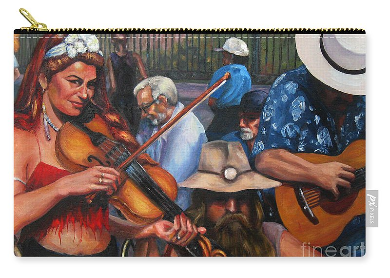 New Orleans Carry-all Pouch featuring the painting Washboard Lissa On Fiddle by Beverly Boulet