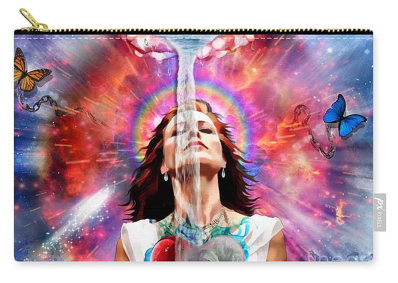 Holy Spirit Filled Carry-all Pouch featuring the digital art Washed By The Water by Dolores Develde