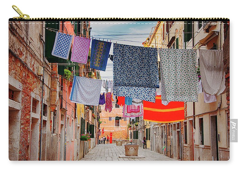 Hanging Carry-all Pouch featuring the photograph Washing Hanging Across Street, Venice by Svjetlana
