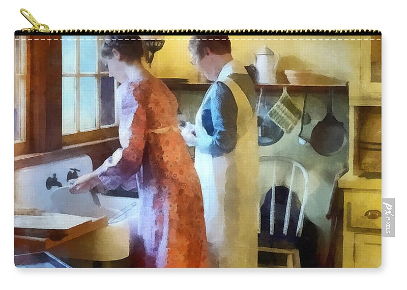 Mother Carry-all Pouch featuring the photograph Washing Up After Dinner by Susan Savad