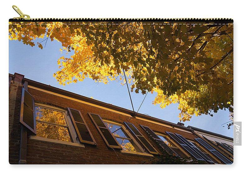 Washington Facades Carry-all Pouch featuring the photograph Washington D C Facades - Reflecting On Autumn In Georgetown by Georgia Mizuleva