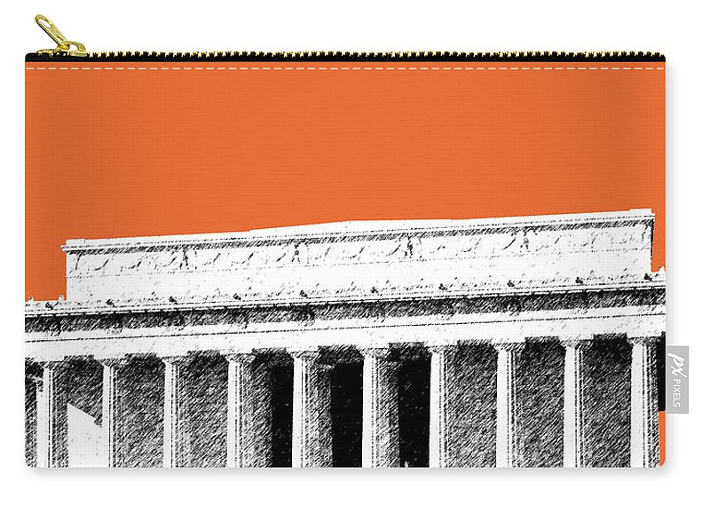 Architecture Carry-all Pouch featuring the digital art Washington Dc Skyline Lincoln Memorial - Coral by DB Artist