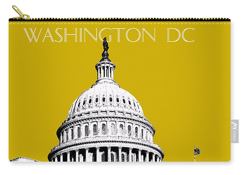 Architecture Carry-all Pouch featuring the digital art Washington Dc Skyline The Capital Building - Gold by DB Artist