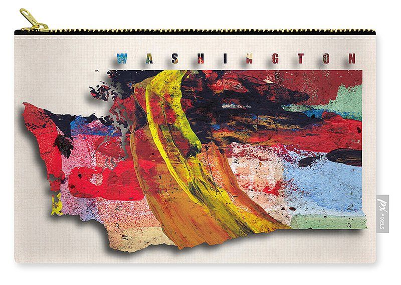 Washington Carry-all Pouch featuring the digital art Washington Map Art - Painted Map Of Washington by World Art Prints And Designs