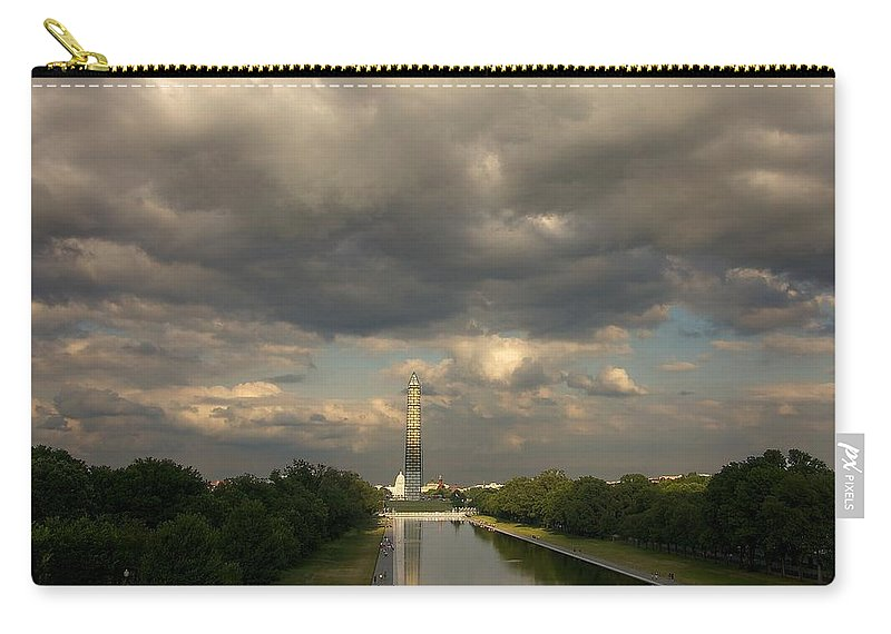 Washington Monument Carry-all Pouch featuring the photograph Washington Monument And Capitol by Stuart Litoff